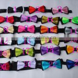 Wholesale fashion neckwear double side self tie cute handsome adjustable boy tie kid necktie baby multicolor solid bow with clip