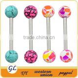 TR01068 Tongue barbell colorful tongue piercing