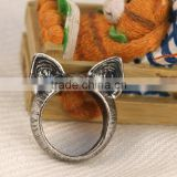 Antique Vintage Bronze Style Kawaii Kitty Cat Ear Metal Costume Jewellery Ring