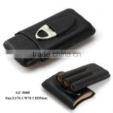 3 cigars crocodile leather travel cigar case humidor with cigar cutter Genuine leather cigar case