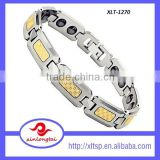 Classical design titanium magnetic therapy bracelet with gold foil