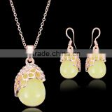 Jewellry Trends 2016 Free Sample Water Drop Earrings Fashion Opal Jewellery 316l Stainless Steel Opal Stone Gold Jewelry Set