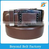Beyond 35mm Men's Brown Solid Genuine Leather Ratchet Belt with Auto Lock Buckle