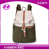 PU leather trimmings college school cannular barrel-shaped backpack canvas