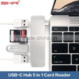 For USB Type-C Laptop For New MacBook Chrome Book Pixel 2 USB 3.0 Type C Hub 5 in 1 Support Charging and Card Reader USB Hub