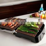 Brushed Stainless Steel Decorative Plancha Panini Grill with removable plates