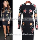 2016 Autumn New Arrival 3D Floral Print Stand Collar Bodycon Dresses Black Long Sleeve Midi Dresses OXL141117
