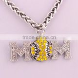 Wholesale Rhinestone Sport Ball Baseball Softball Basketball MOM Necklace