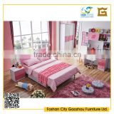 modern princess style wood bedroom furniture sets with clover decoration pink color