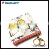 Hot selling PU butterfly fashion design portable coin purse wallet with key ring