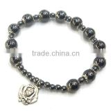 catholic bead bracelet, non-magnetic hematite bracelet with cross,cheap religious bracelet