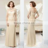 2014 heavy pearl beaded floor length customize half sleeve champagne mother of the bride dresses with sleeves CWFam5772