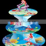 ARIEL, LITTLE MERMAID, CUPCAKE STAND,3 tier cardboard Treat Cupcake Stand Holder Tower Tree Cupcake Stand Cupcake Party Supplies