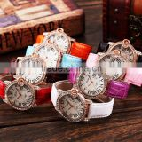 Lady Crystal Analog White Leather Bracelet Women Quartz Watch