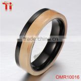 black Tungsten carbide Ring wooden inlay best selling products mens weeding engagement ring diamond stainless steel bands