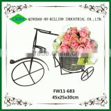 Bicycle frame mini wicker flower basket