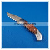 Top quality wood handle mini damascus camping knife