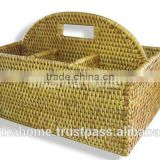 Full rattan flatware caddy