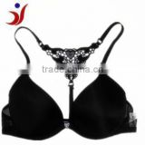 2014 js-921sexy black bra front cloure bra with lace t-back made in China Shantou manufactory (accept OEM)