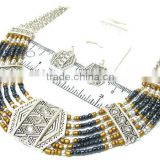 Crystal metal and multi seed beads native tribal design multi chain necklace earring set