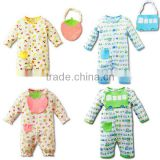 2pcs long sleeve full printed pure romper baby romper with bibs