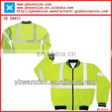 reflective yellow jacket with waterproof ,waterproof yellow jacket with rib collar, safety yellow jacket with multi~pockets