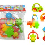 Baby Infant and Toddler Rattle Rubber Teether Holder Play Set