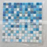 mixed blue colors square glass mosaic tile for swimming pool