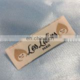 baby clothes woven satin label end fold
