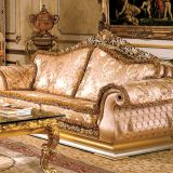 OE-FASHION Luxury furniture living room sofa set, wood carving 7 seater sofa set designs