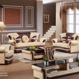 Luxury wooden brown leather sofa set