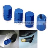 Blue Aluminum Tire Valve Stem Cover Caps - Set of 4