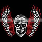 skulls with angel wings wholesale good quality fluorescent color rhinestone transfer                                                                                                         Supplier's Choice