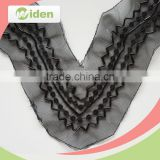 Black net lace fabric embroidery collar lace applique beaded lace trim                                                                                                         Supplier's Choice