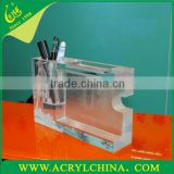 Acrylic display with pen container perspex sign holder on table/plastic display stand