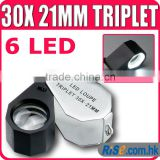30x Magnification Triplet Lens with 6 Built-in LED Light 21mm Jeweler Loupe