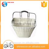 Made in china custom size white wicker bike basket for sale