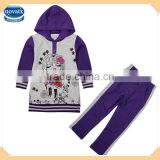 (FG4646) 4-9y Heather grey young girls boutique clothing set sequins hooded winter baby set