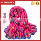 V-826 Custom Design Scarf Digital Print Fashion Silk Scarf Long Colorful Silk Scarf Women Chiffon Scarf