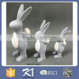 Handmade file decoration concrete color easter ceramic rabbit with egg
