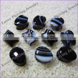 Wholesale Teardrop Design Black Strip Agate Natural Stone Custom Made Ear Plugs [SE-T260A]