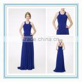 Latest Halter Cross Back Draped Empire Waist Bridesmaid Gown Custom Made Chiffon Bridesmaid Dress Patterns 2015(RHM-2111)