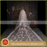 BV1010 Luxury Elegant Appliques Long Wedding Accessories Bride One Layer Lace Purfle Bride Veil