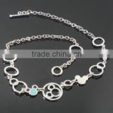 Silver Oval Shape Series Teddy Bear Stainless Steel Small Pendant Necklace