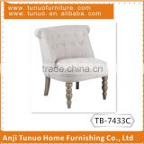 Mini sofa chair,patchwork back and seat with buttons,antique finish gourd wooden legs/KD legs,TB-7433c