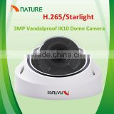 3MP H.265 Starlight HD network onvif IP Auto focus motor Lens Vandal proof IK10 audio alarm POE SD Card cctv dome camera