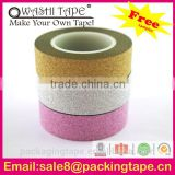high performance shinning decorative glitter tape punctilious horizontal stripe washi tape for customized