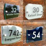 Modern House Sign Door Number Street Address Glass Effect Acrylic Plaque