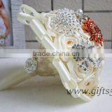Amazing Wedding Bouquet with Rhinestones Beadings Pearls and Glaring Jewels Satin Ribbon Bow Knot
