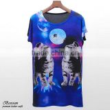 SUMMER WEAR Women's digital t-shirt in galaxy print top batwing tee